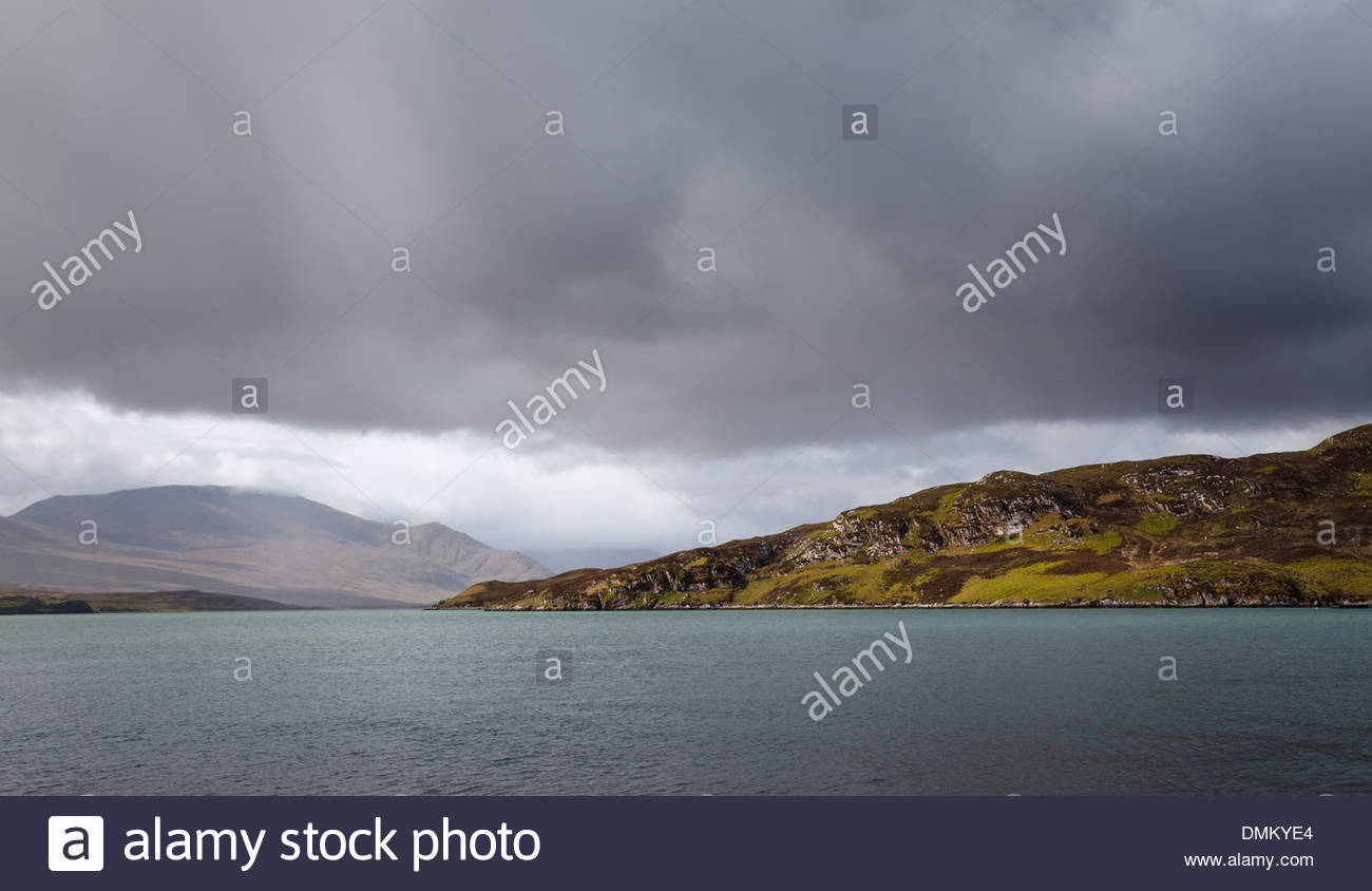 Dark clouds over the Kyle of Durness - Stock Image