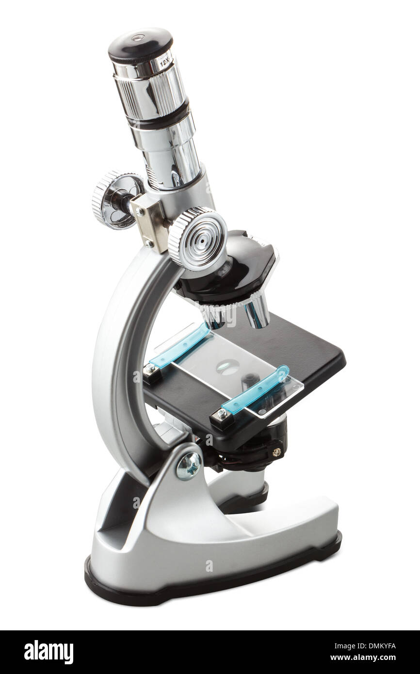 a toy microscope isolated on white - Stock Image