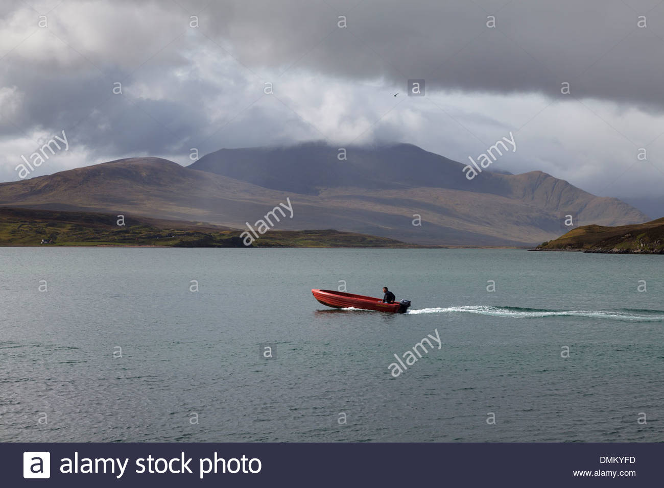 The ferry over the Kyle of Durness - Stock Image