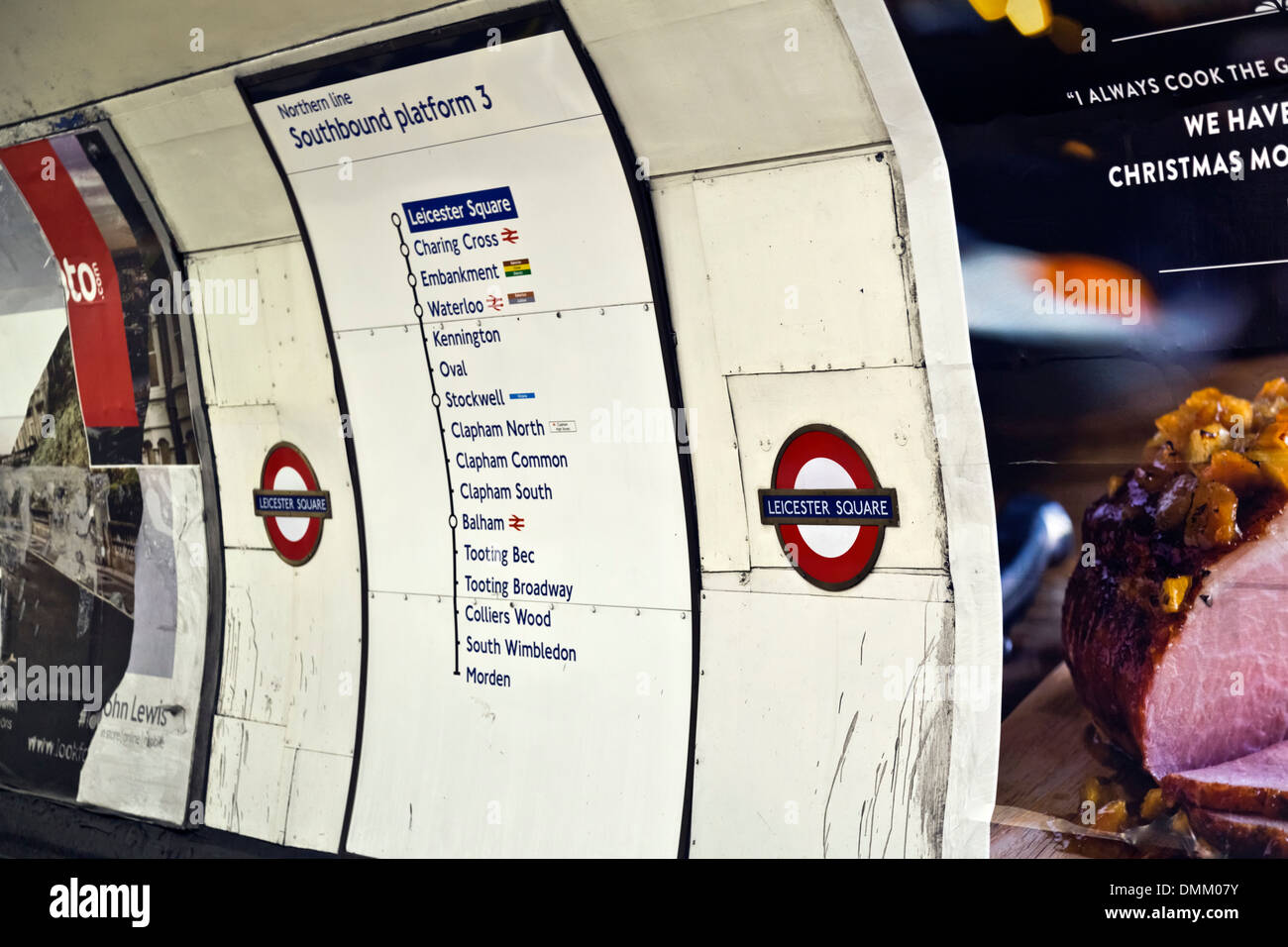 Leicester Square tube station, Northern Line southbound platform 3, London Underground, England - Stock Image
