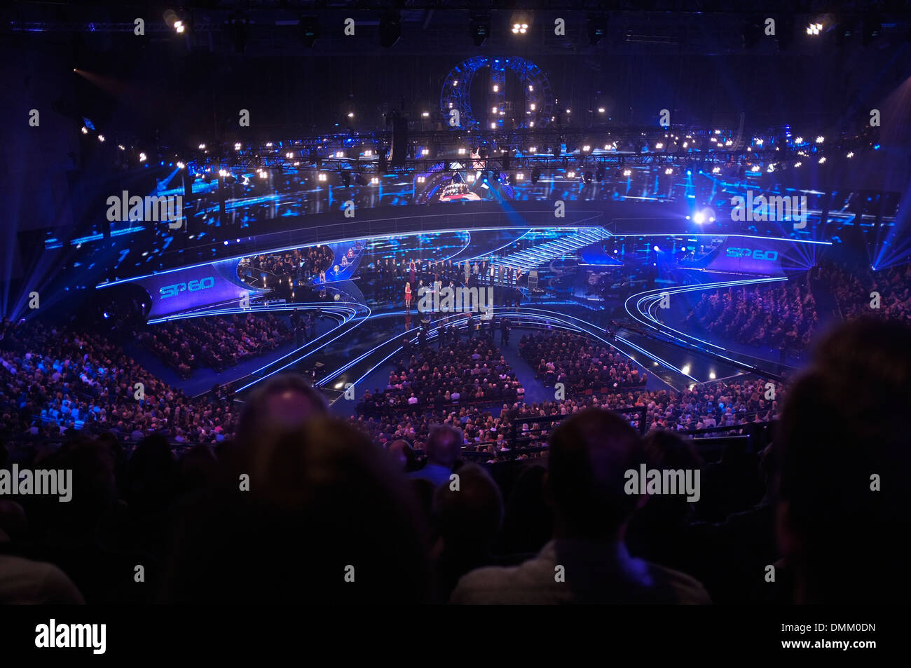 Leeds First Direct Arena hosting the BBC's Sports Personality of the Year Awards 2013, showing Andy Murray receiving his award. - Stock Image
