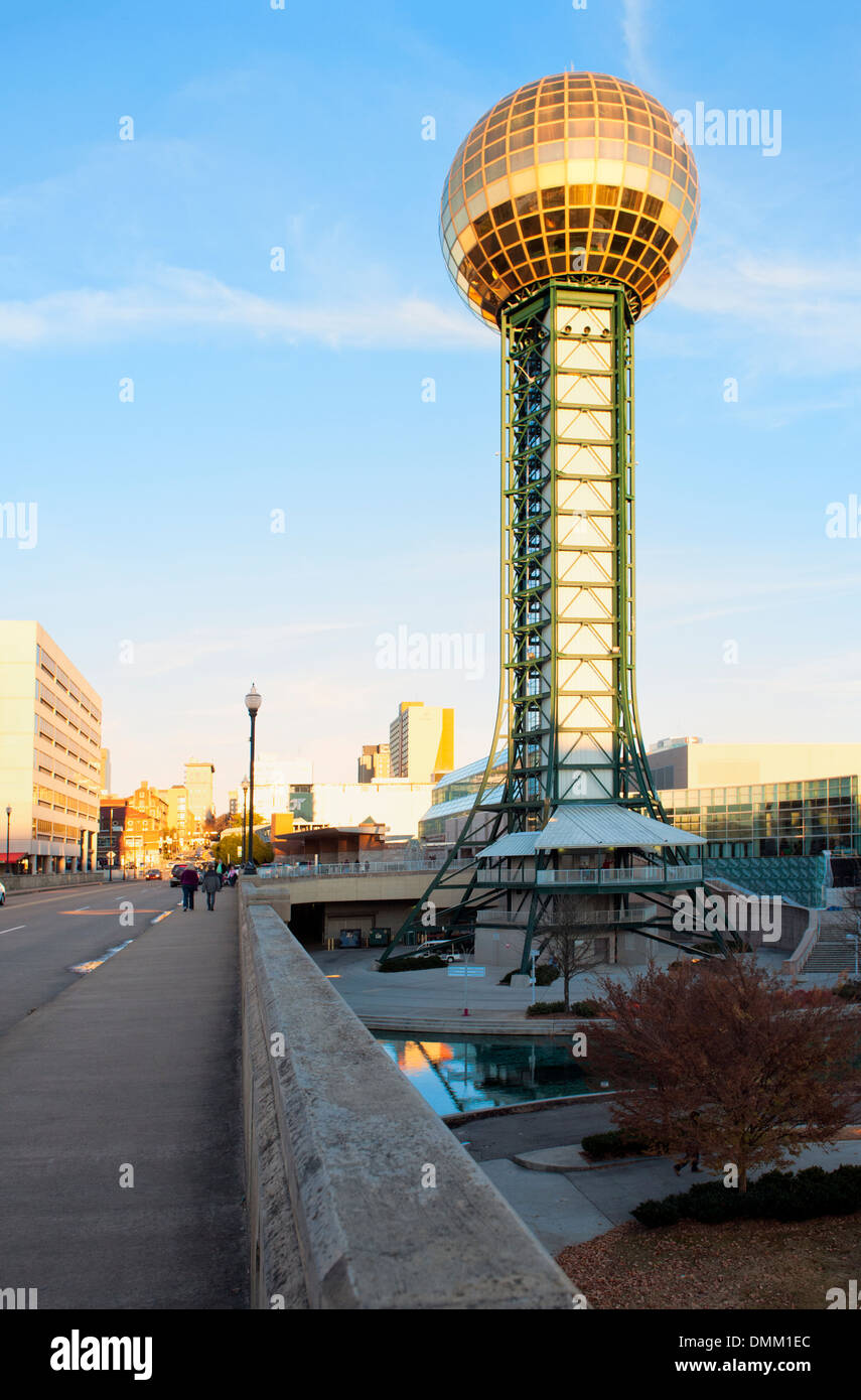 knoxville tennessee with the 1982 world fair sunsphere in background stock image