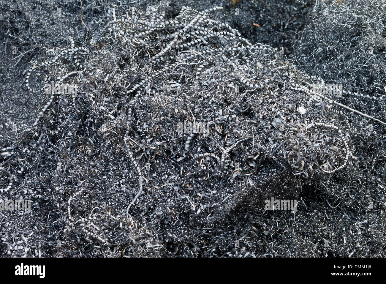 Metal shavings in pile - Stock Image