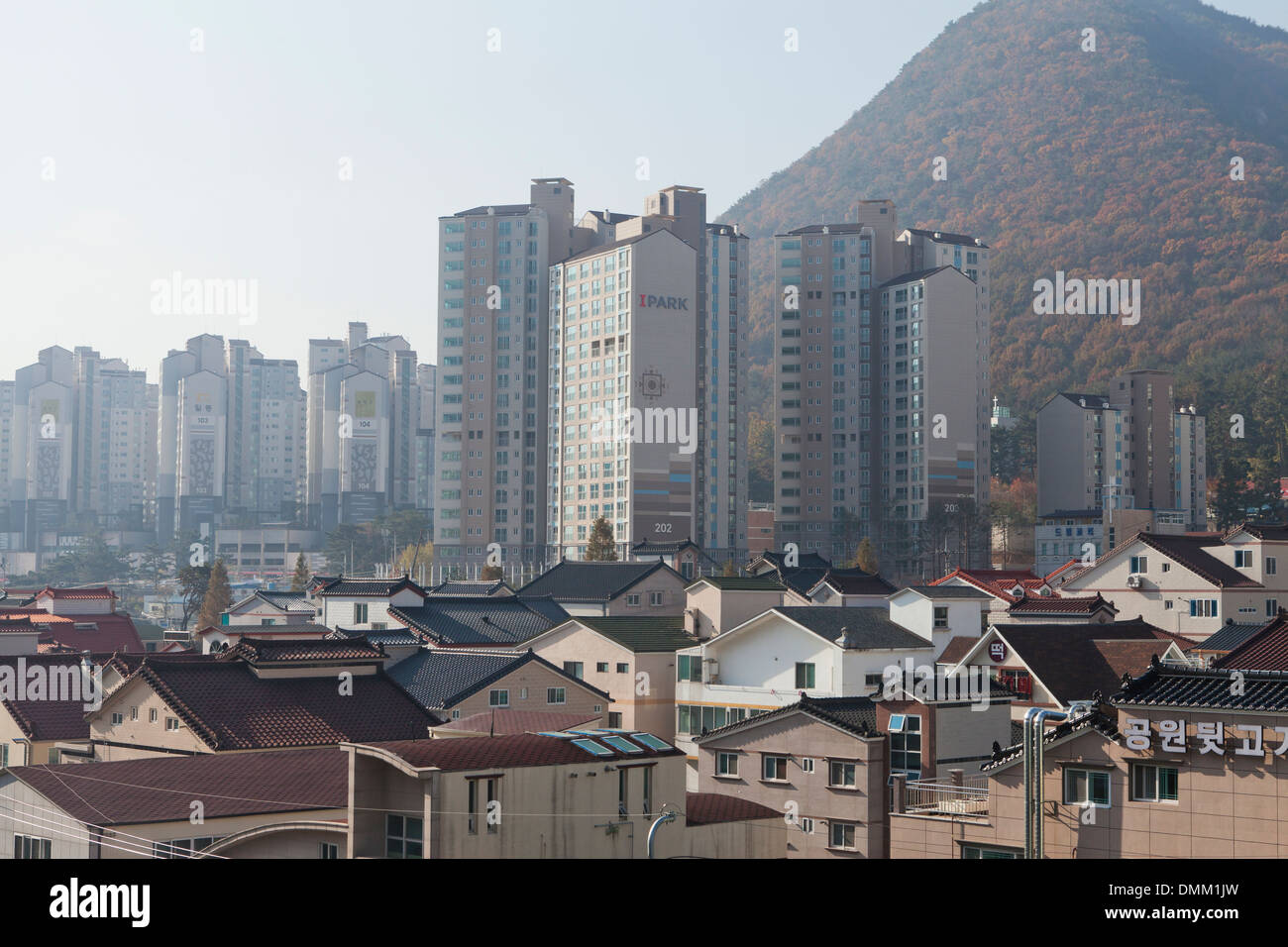 New high-rise multi-complex housing among traditional single-family houses - Gimhae, South Korea - Stock Image
