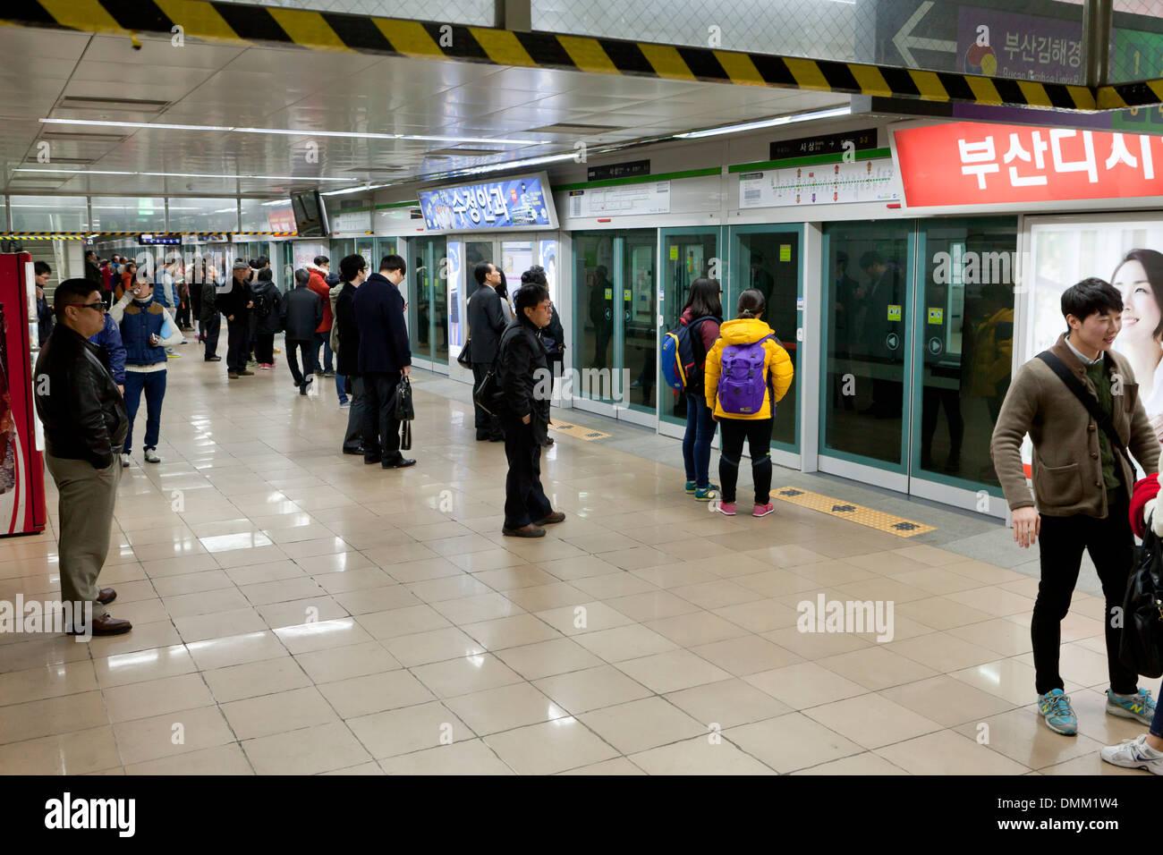 Subway station - Busan, South Korea - Stock Image
