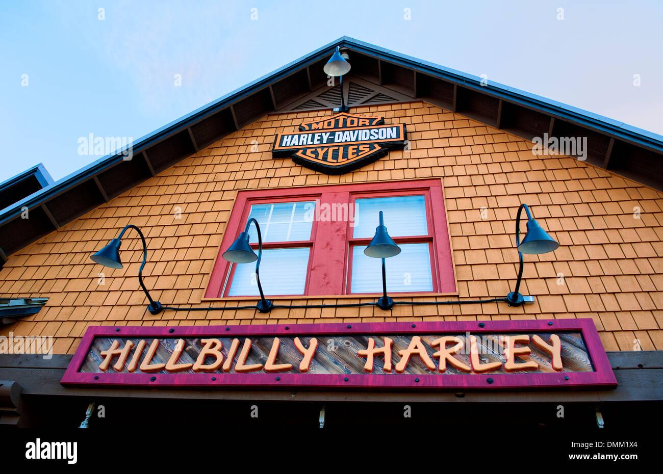 Hillbilly Harley Davidson storefront in Gatlinburg, Tennessee Stock