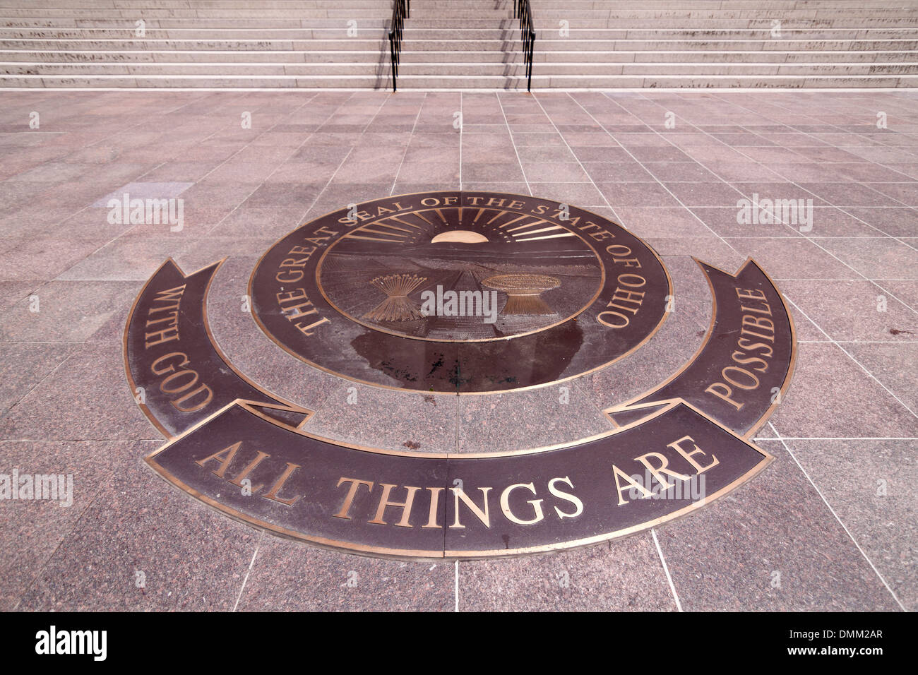 A metal inlay in front of the Ohio Statehouse that reads 'With God All Things Are Possible'. This is the Ohio state motto. - Stock Image