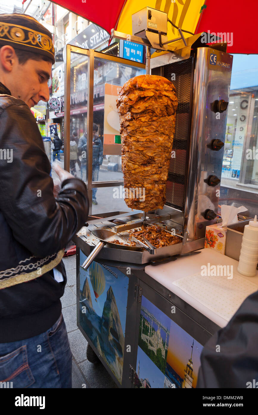 Doner kebab vendor - Busan, South Korea - Stock Image