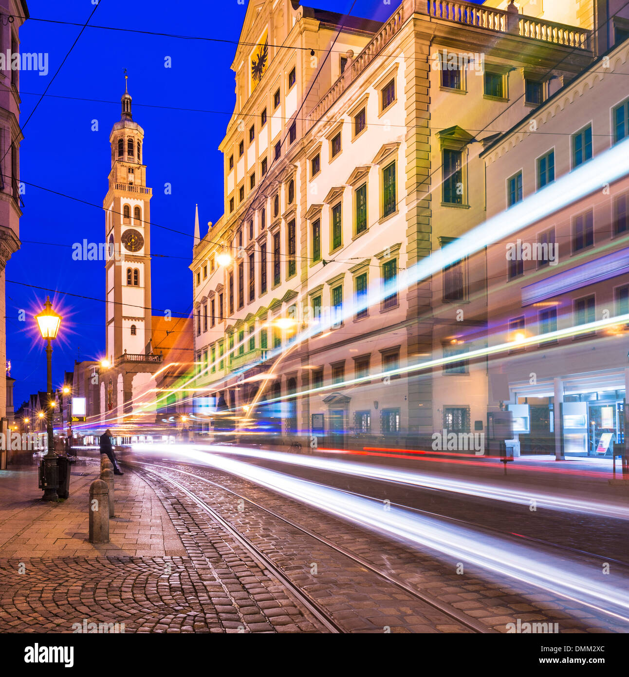 Augsburg, Germany at Rathausplatz as a street car passes by. - Stock Image