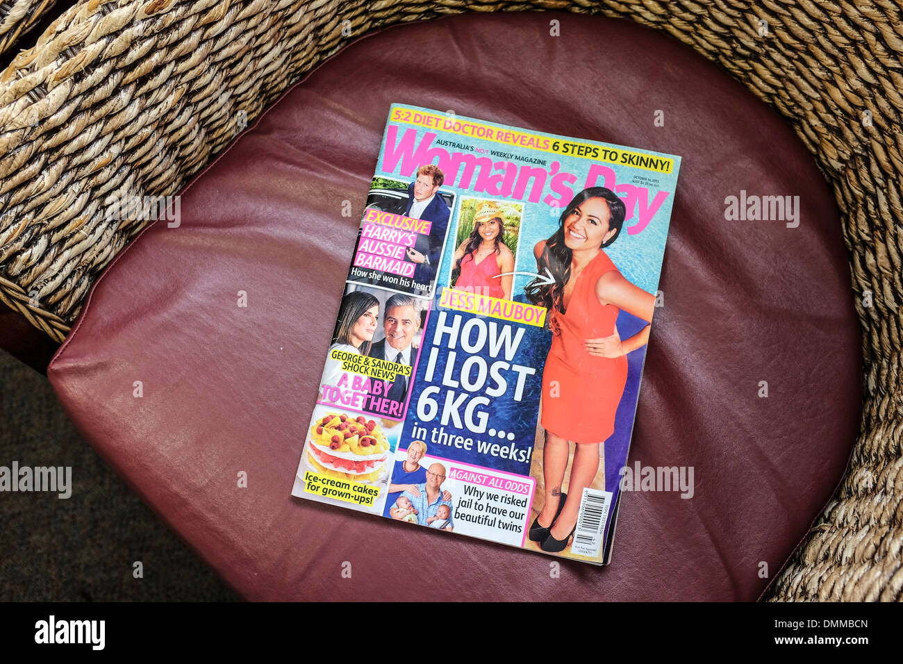 Magazine in a dentist waiting room with the usual 'how I lost weight' cover story - Stock Image
