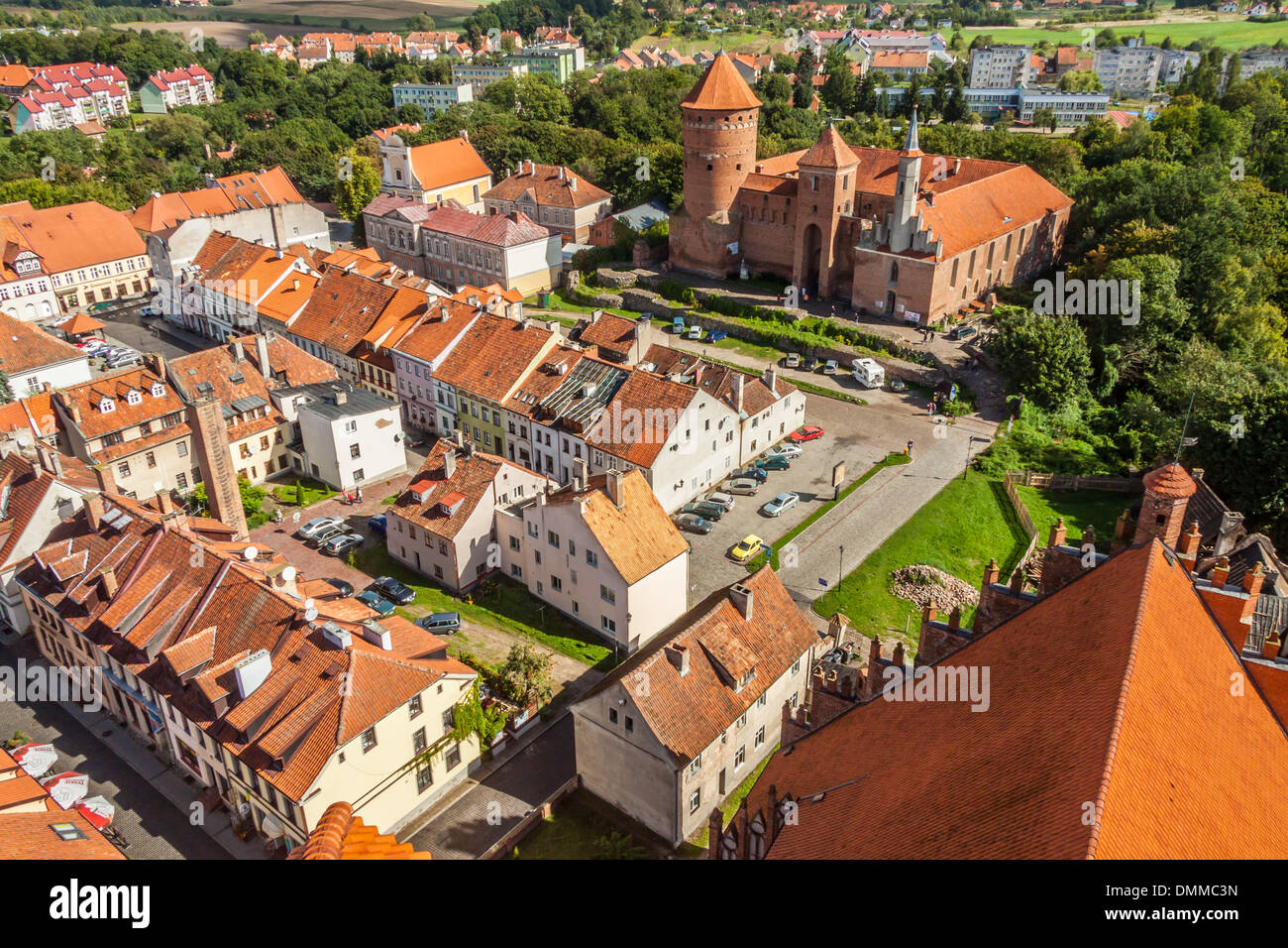 Old castle and Reszel Town - aerial view. Poland. Stock Photo