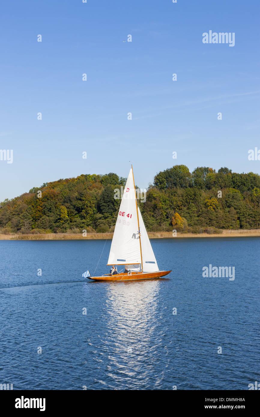 Germany, Bavaria, Chiemgau, Frauenchiemsee, sailing boat Stock Photo