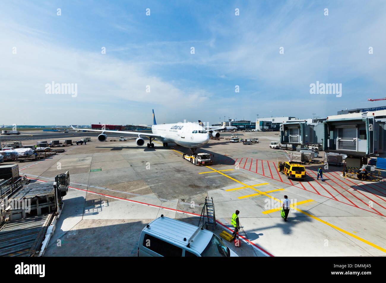 Germany, Frankfurt, Airport, Airbus A340 of Lufthansa - Stock Image