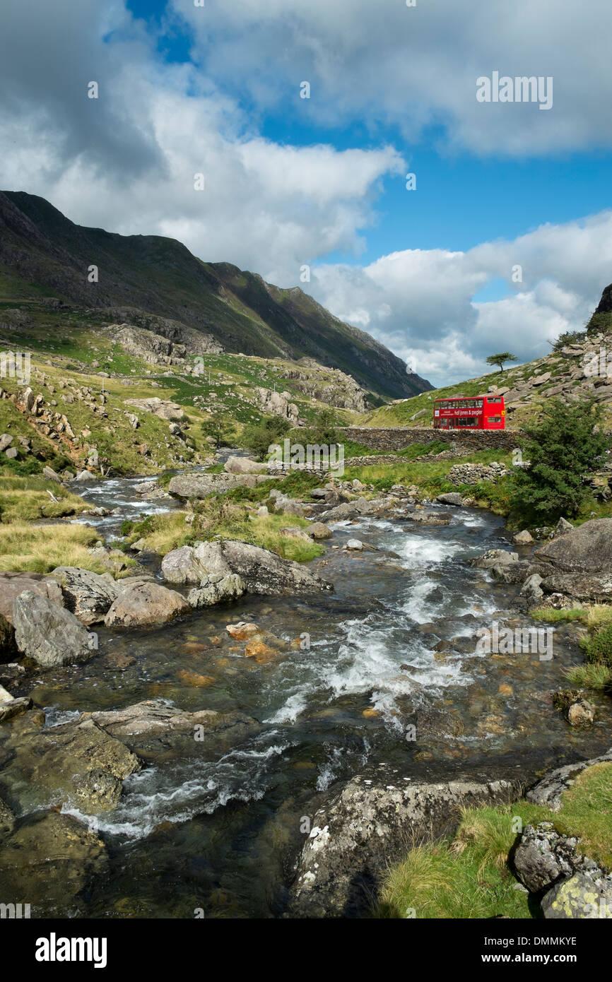 Great Britian, Wales, mountain stream at Llanberis Pass at Snowdonia National Park - Stock Image