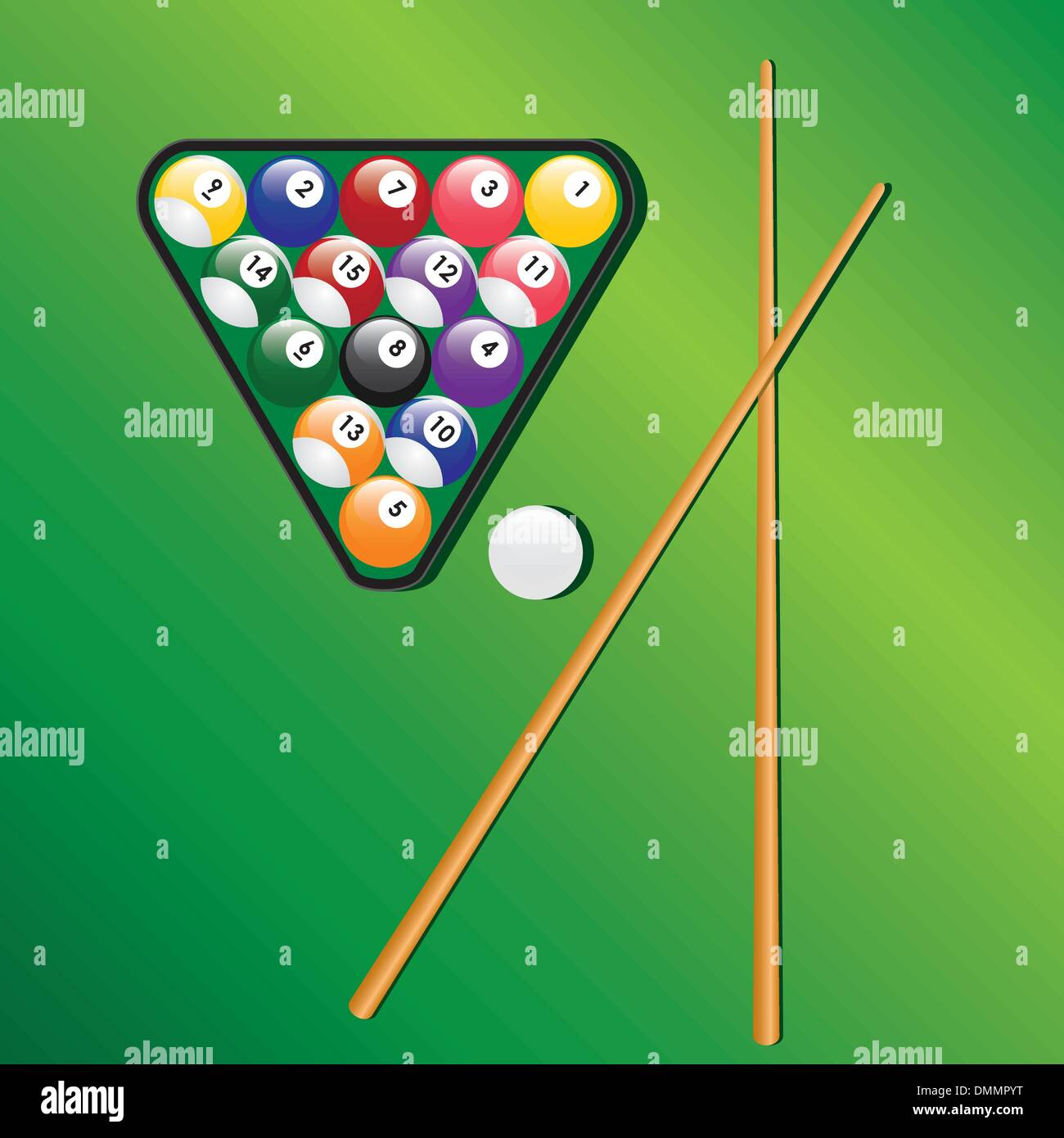 Billiard balls and cues for play game. - Stock Vector
