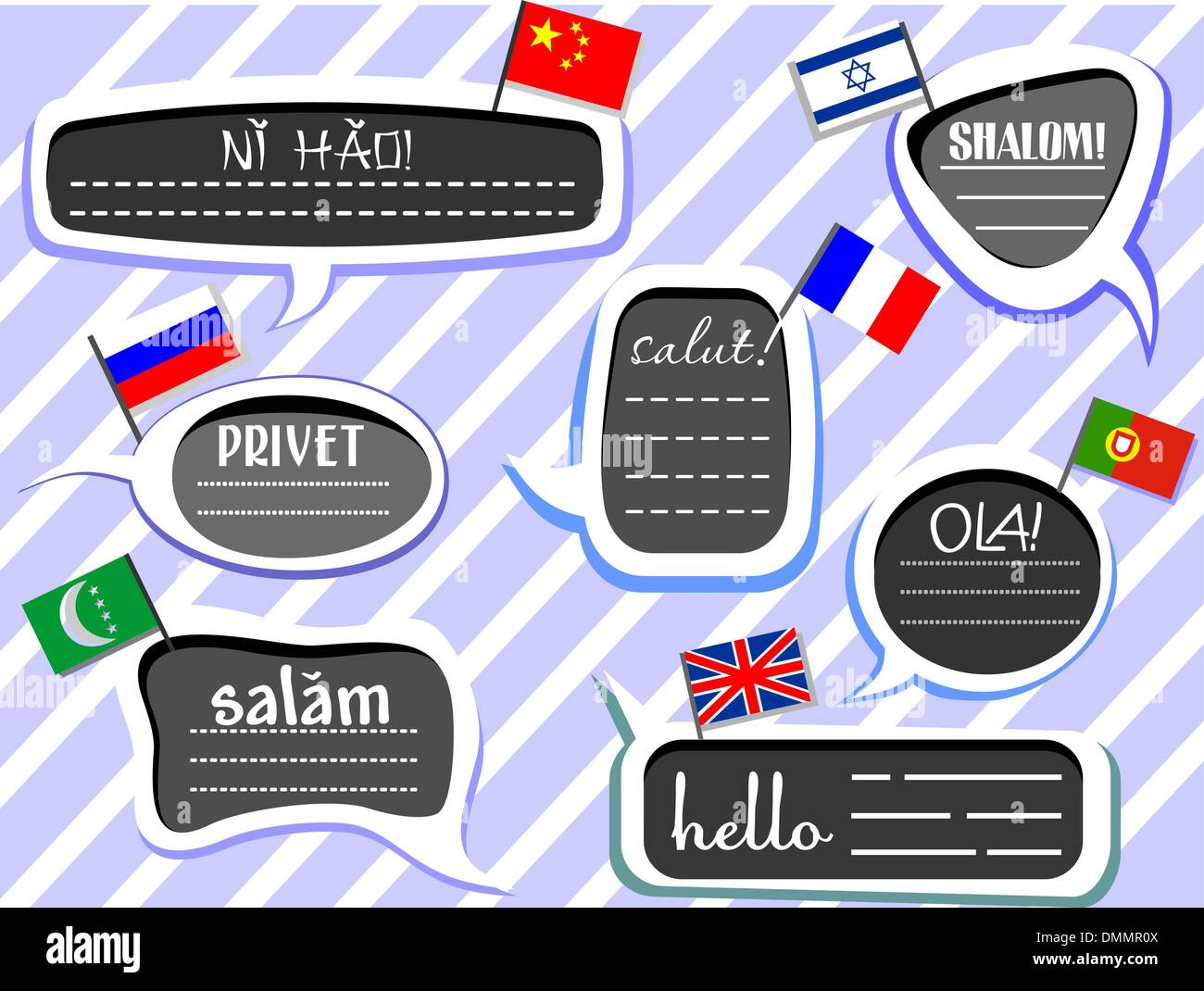 Different Language Greetings - Stock Image