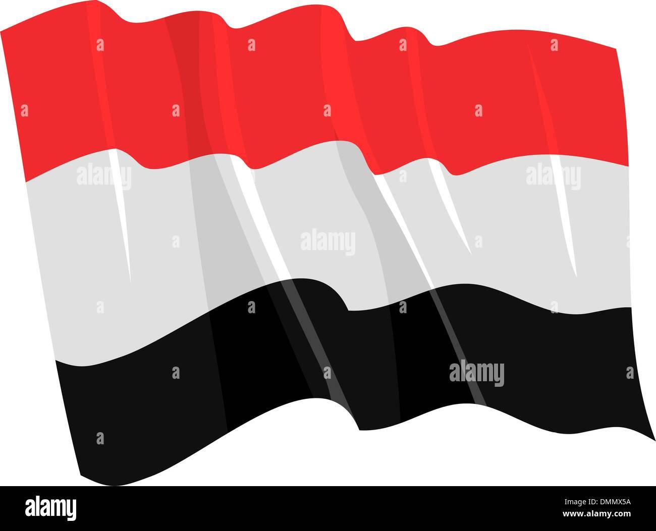 Political waving flag of Yemen - Stock Vector