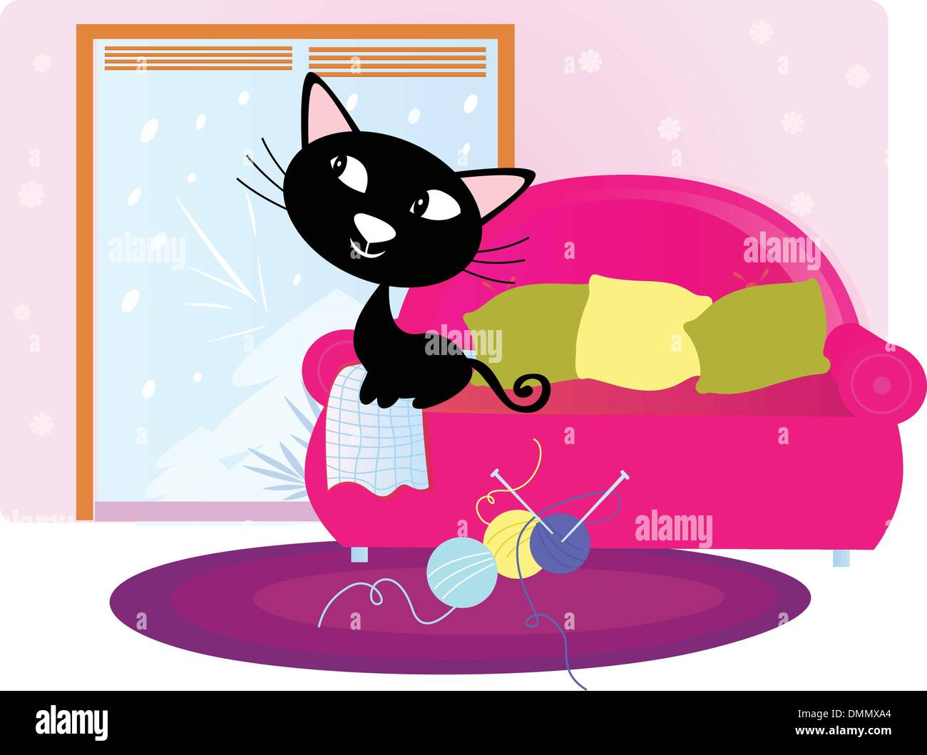 Christmas: Black Cat sitting on sofa and looking through window - Stock Vector
