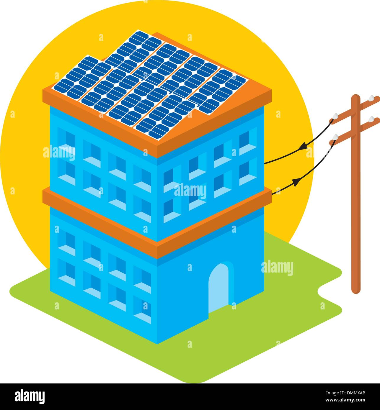 Solar house - Stock Vector