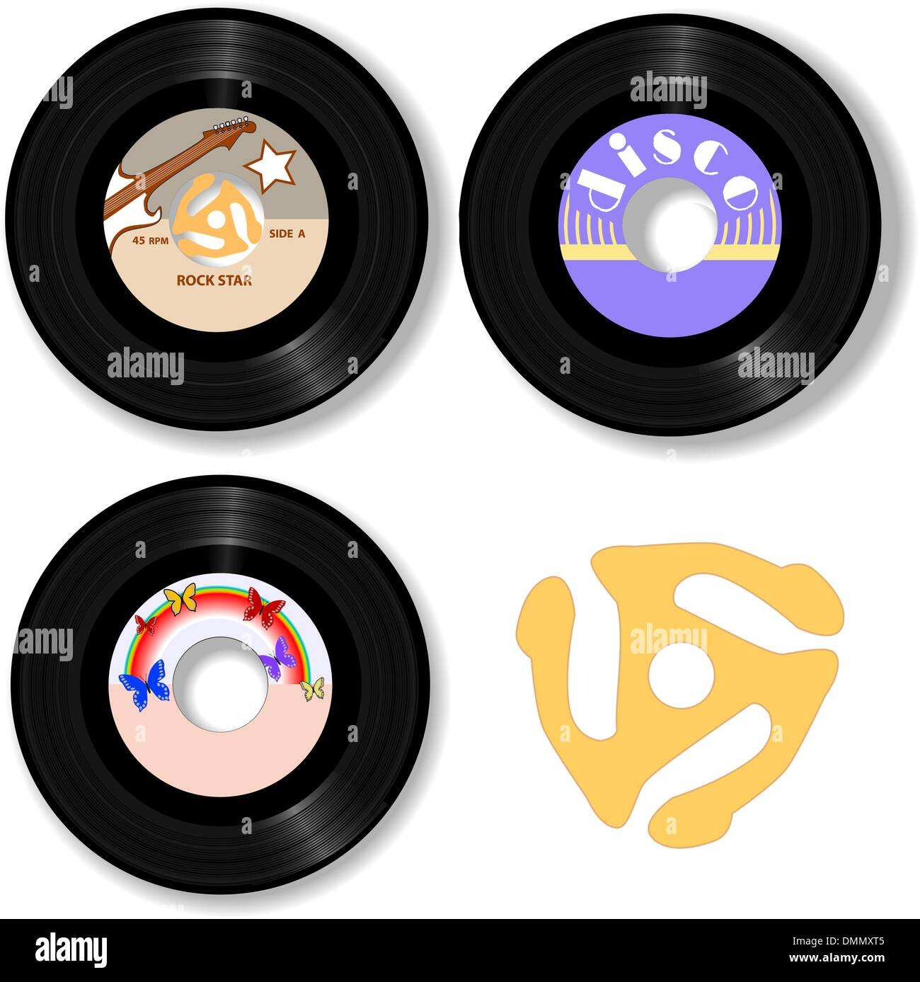 Retro 45 RPM Records & Spindle Adapter - Stock Image