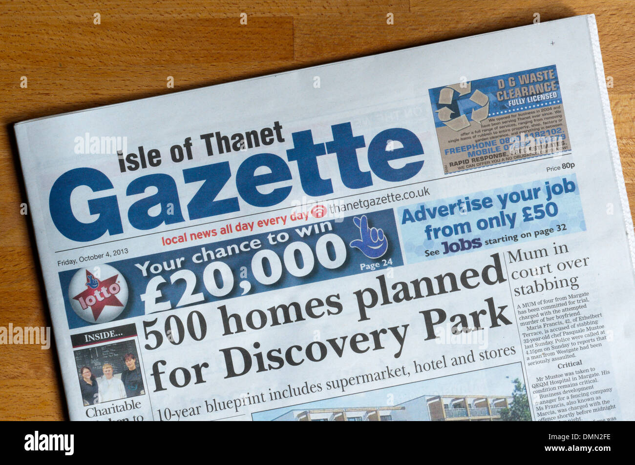 The front page of the Isle of Thanet Gazette local newspaper