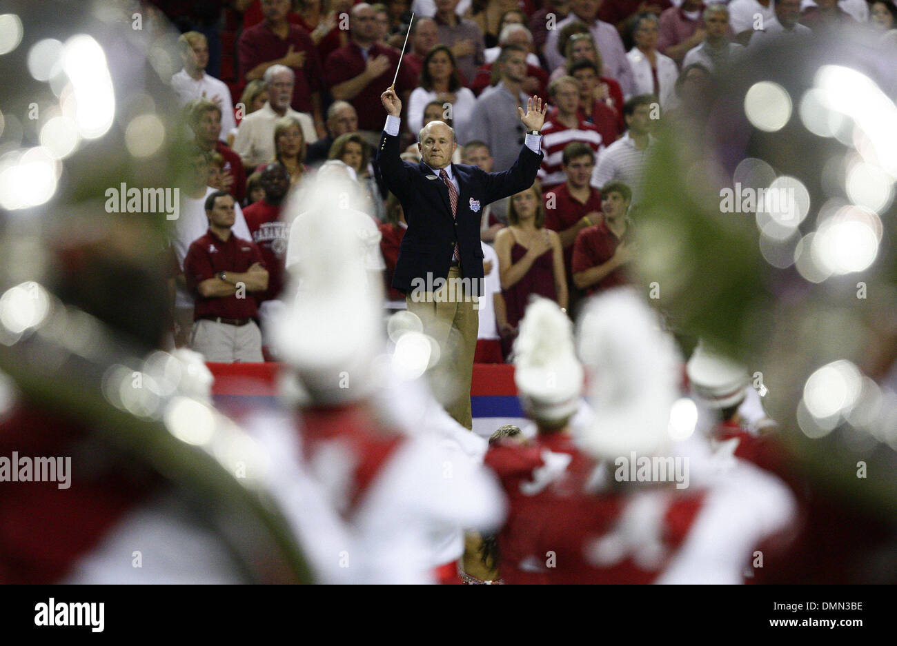 Sep 05, 2009 - Atlanta, Georgia, USA - NCAA Football - Chick-Fil-A President DAN CATHY conducts the University of Alabama and Virginia Tech marching bands before the start of the game in the Georgia Dome. (Credit Image: © Josh D. Weiss/ZUMA Press) - Stock Image
