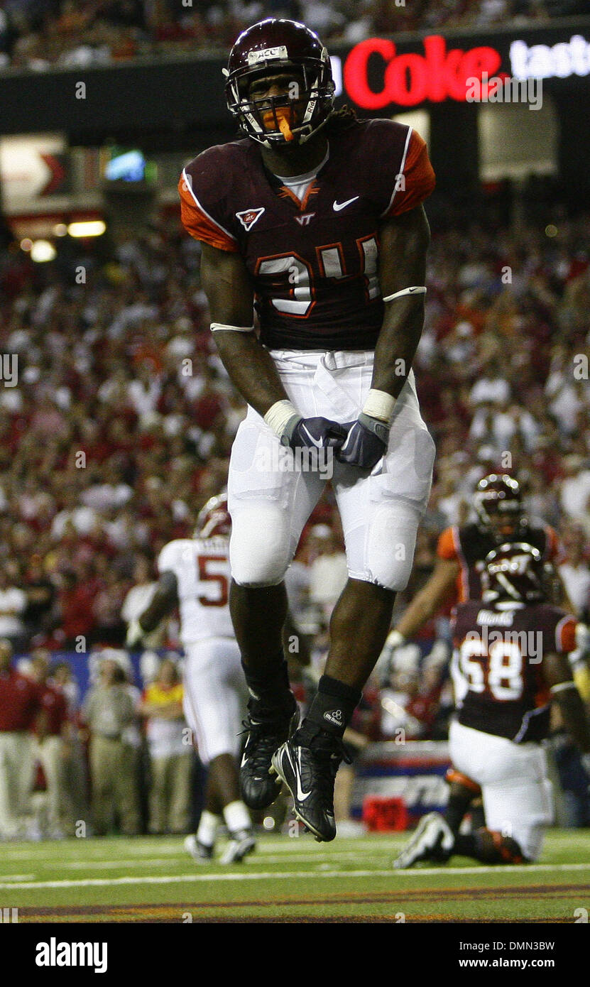Sep 05, 2009 - Atlanta, Georgia, USA - NCAA Football - Virginia Tech's RYAN WILLIAMS (34) jumps in celebration after scoring a short yardage touchdown against Alabama during the first half in the Georgia Dome (Credit Image: © Josh D. Weiss/ZUMA Press) - Stock Image