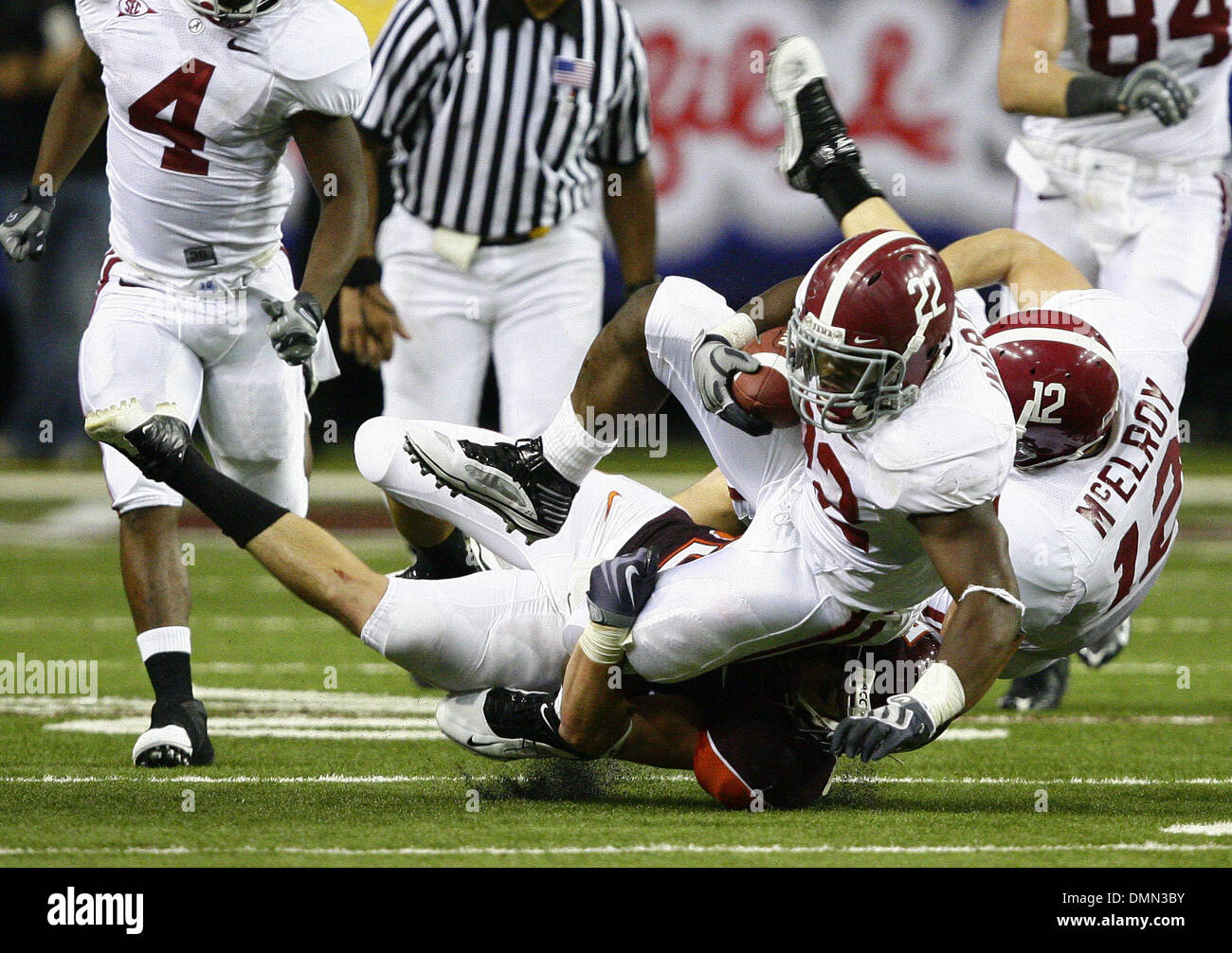 Sep 05, 2009 - Atlanta, Georgia, USA - NCAA Football - A Virginia Tech defender tackles Alabama's MARK INGRAM (22) during the second half of their season opener in the Georgia Dome. (Credit Image: © Josh D. Weiss/ZUMA Press) - Stock Image