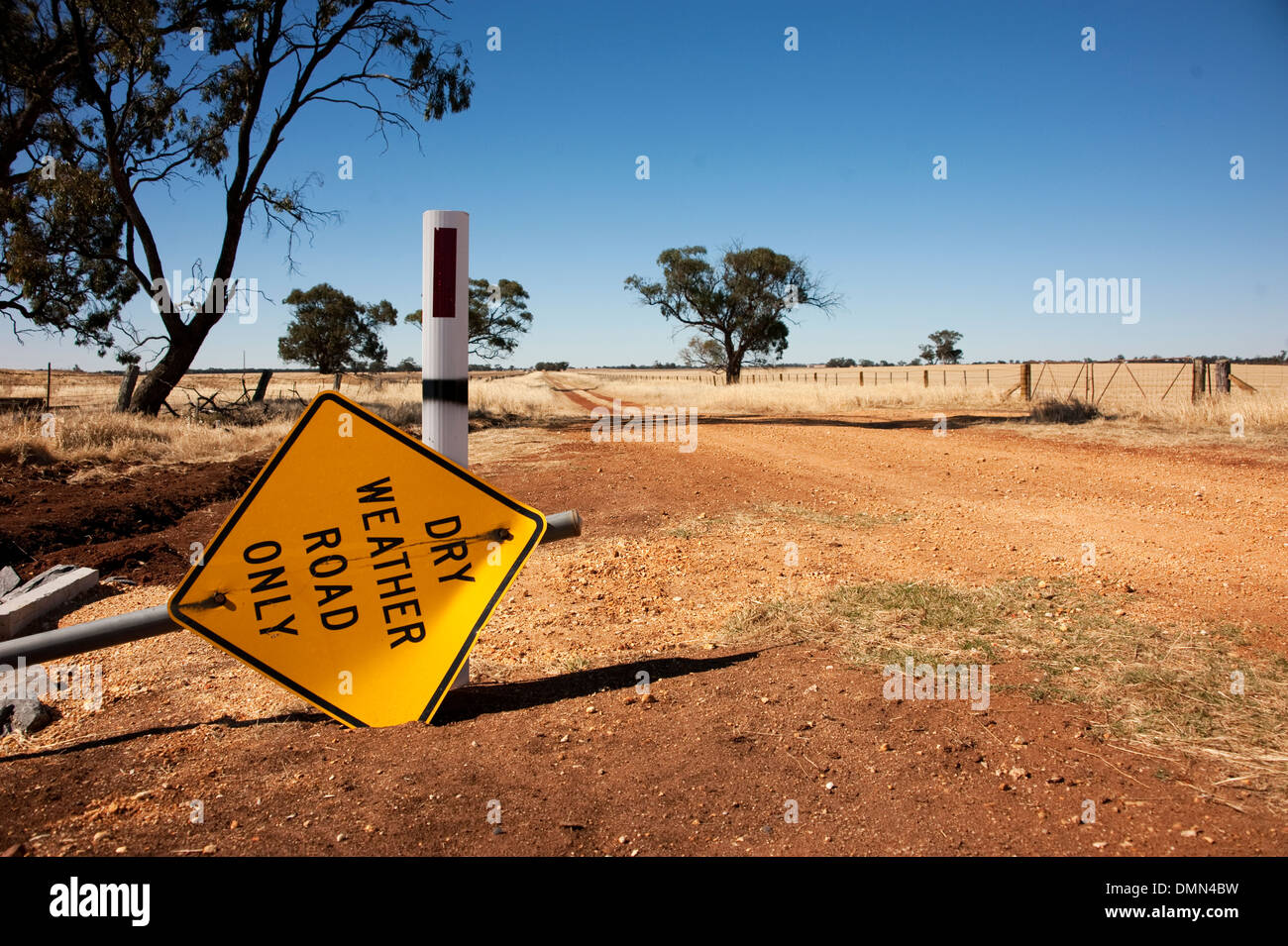 Dry weather sign lying on dry isolated dirt road. - Stock Image