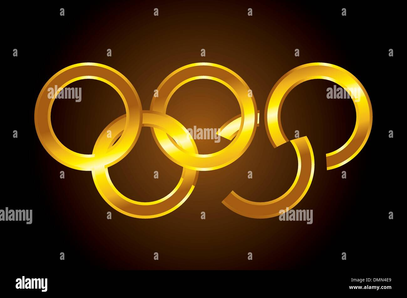 vector Olympic gold rings - Stock Vector