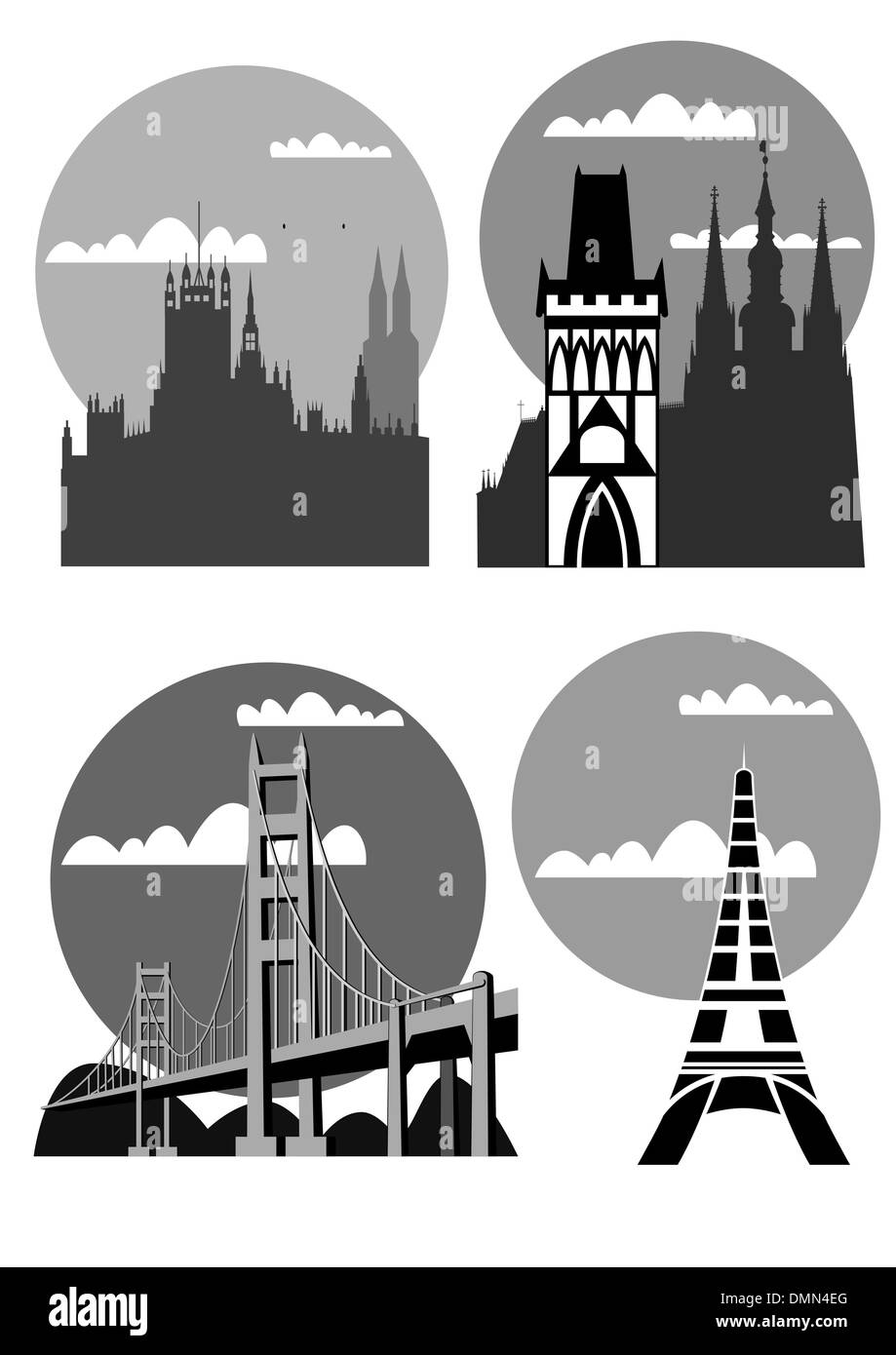 famous cities and places - vector - Stock Image