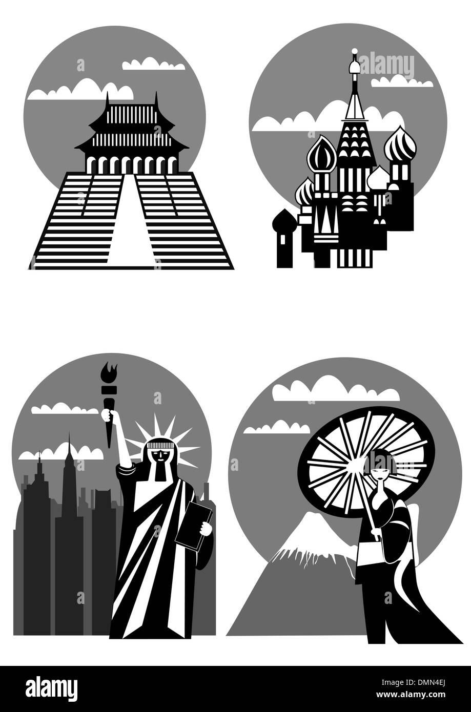 various famous landmarks - vector - Stock Vector