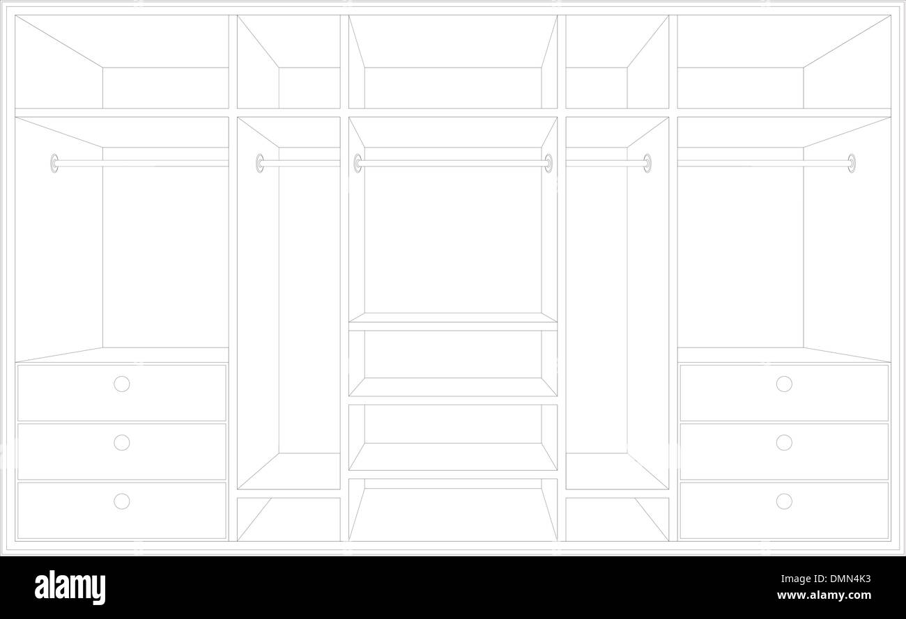 Drawing of a wardrobe. Draft of furniture - Stock Vector