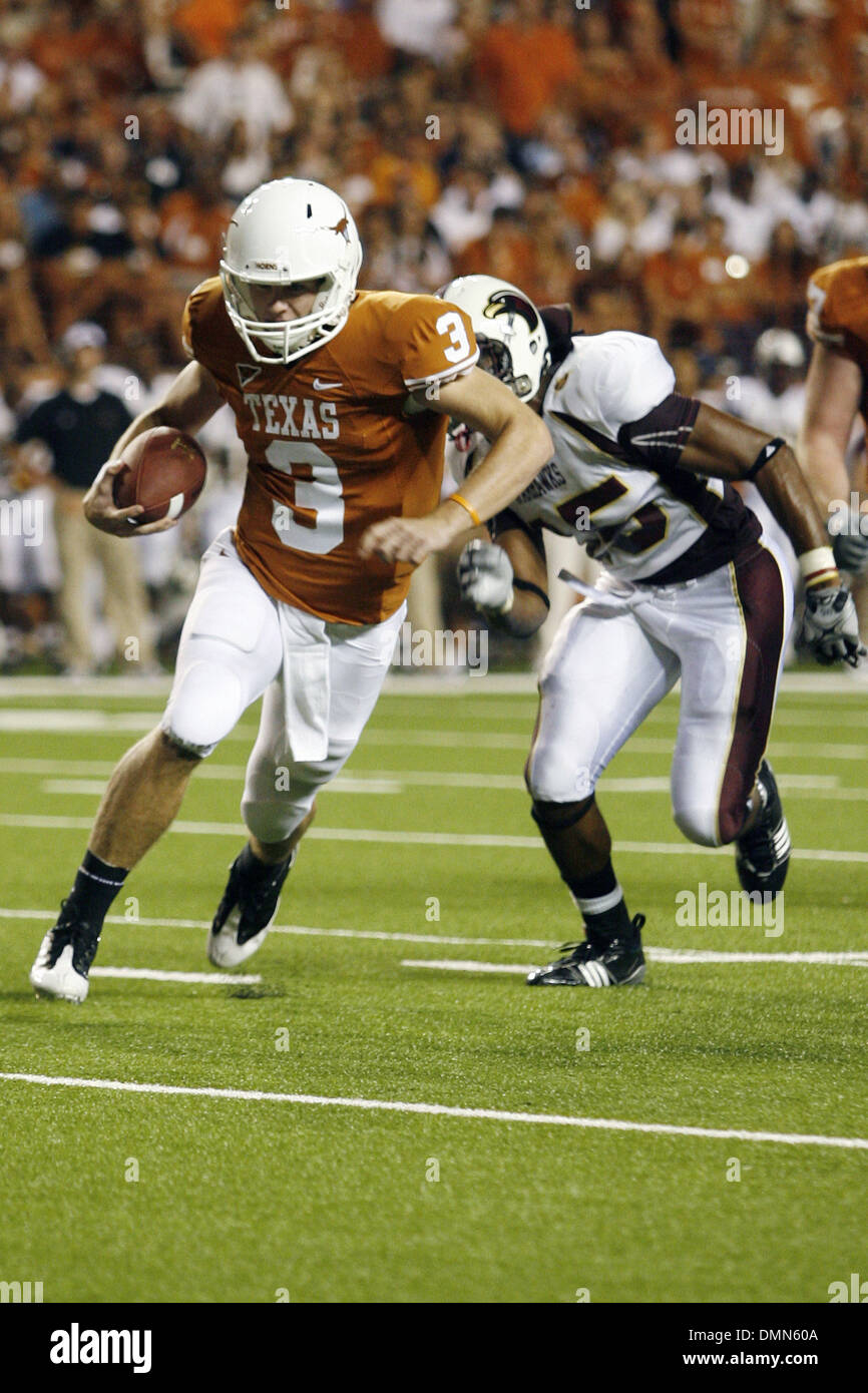 05 SEP 2009:  Freshman Longhorn quarterback Garrett Gilbert scored his first touchdown as a Longhorn as the Longhorns knocked off the physical Warhawks from the University of Louisiana at Monroe, 59-20 on September 5, 2009. (Credit Image: © Southcreek Global/ZUMApress.com) - Stock Image