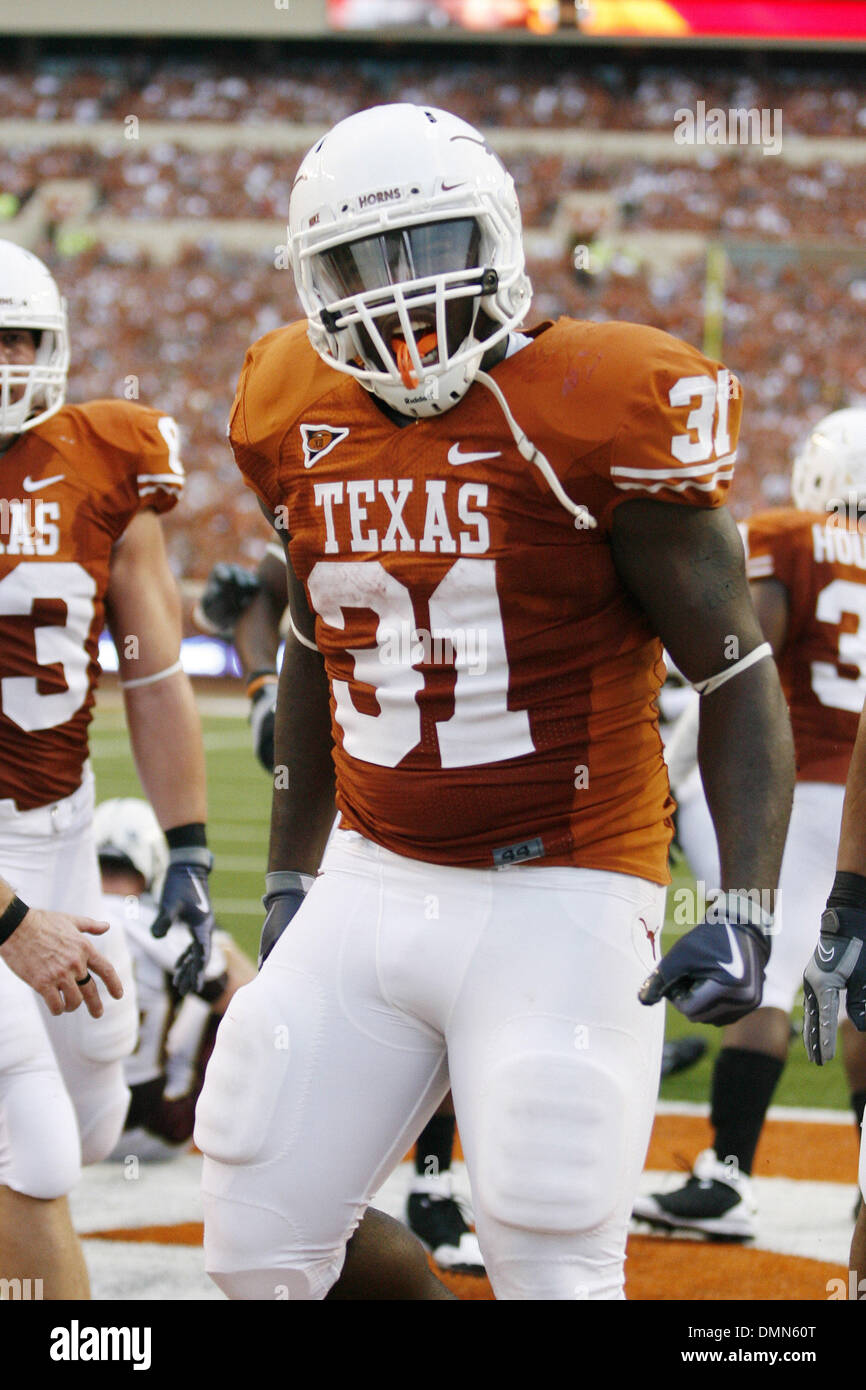 05 SEP 2009:   Texas's Cody Johnson is jubilant after scoring a first half touchdown in the Texas victory over Louisiana Monroe 59-20 in the Texas season opener at DKR Memorial Stadium on September 5, 2009. (Credit Image: © Southcreek Global/ZUMApress.com) - Stock Image