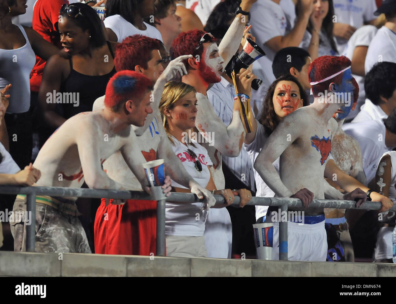 05 SEP 2009:  Stephen F Austin travels to Dallas to face the SMU Ponies in the season kickoff.  With a 4th quarter come back the Ponies win 31-23 over SFA.  SMU Mustange student section cheers on the Ponies in their victory. (Credit Image: © Southcreek Global/ZUMApress.com) - Stock Image
