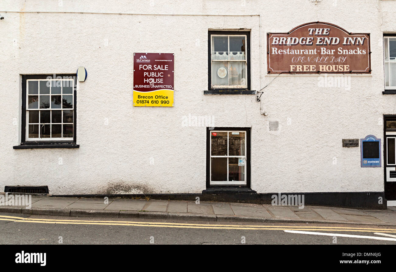 Rural public house for sale, Talgarth, Wales, UK - Stock Image