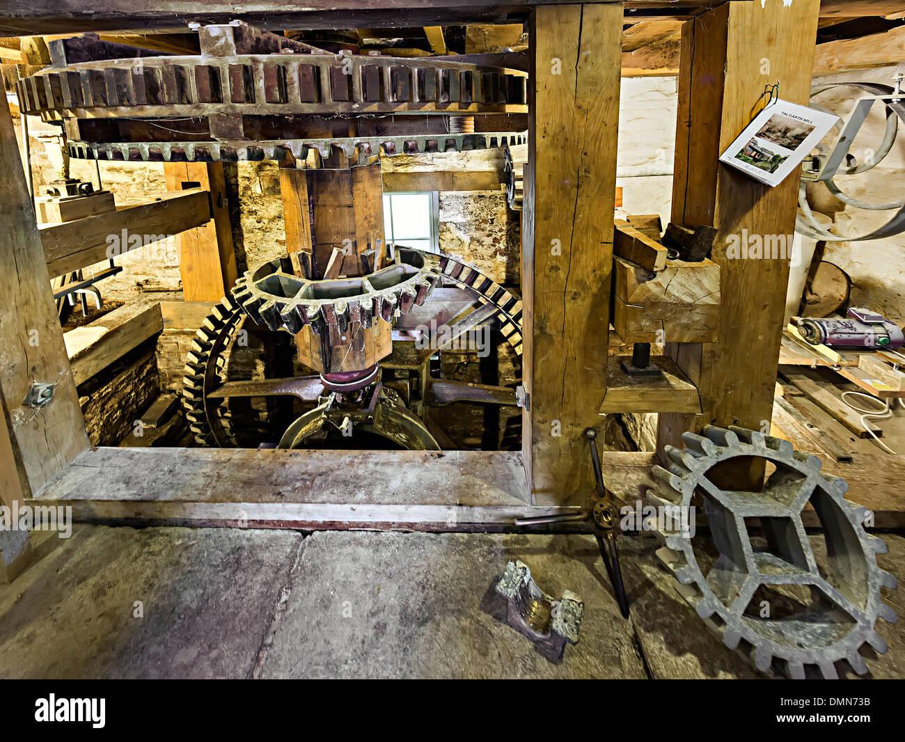 Water powered mill gears, Talgarth, Powys, Wales, UK - Stock Image