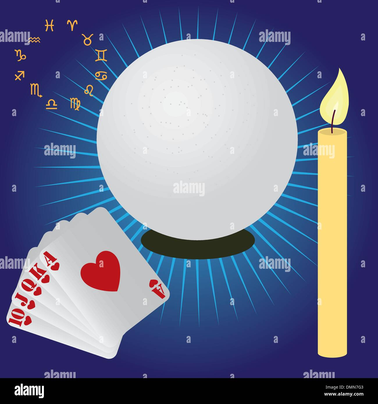 Items for fortune telling. - Stock Vector