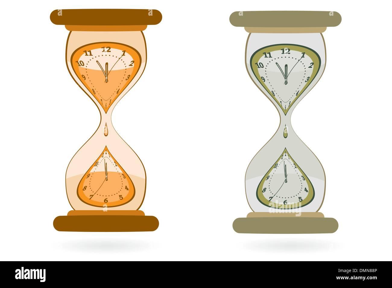 Hourglass with Wall Clocks - Stock Image