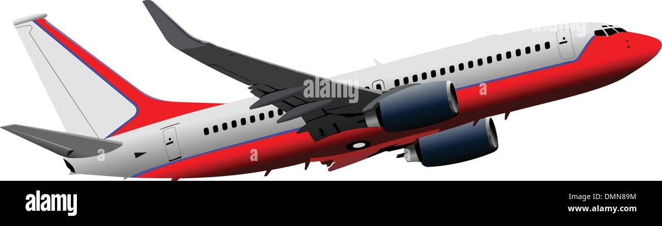 Passenger  Airplane on the air. Vector illustration - Stock Image
