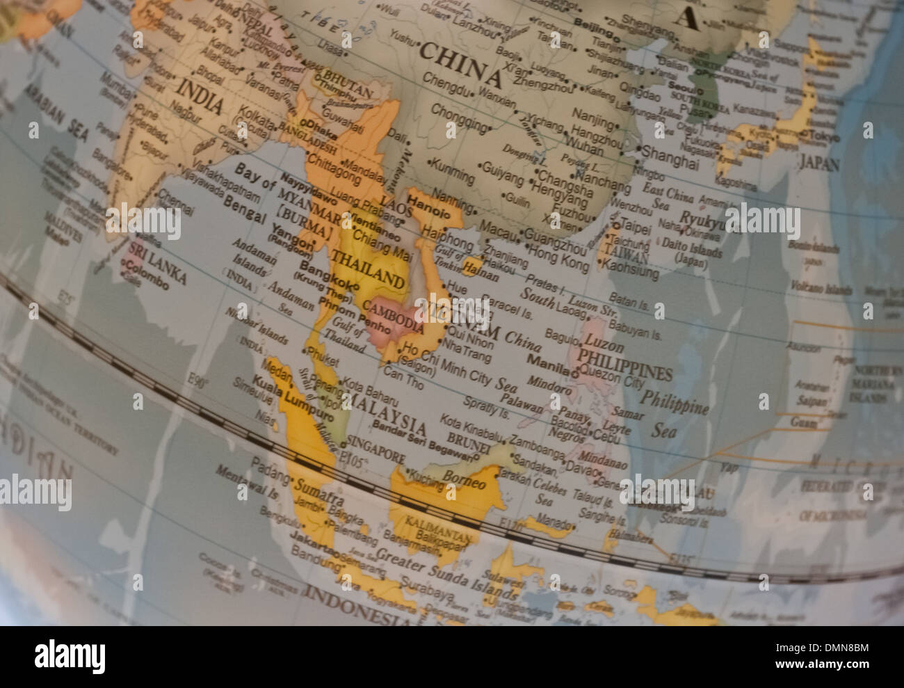South East Asia countries map on a globe - Stock Image