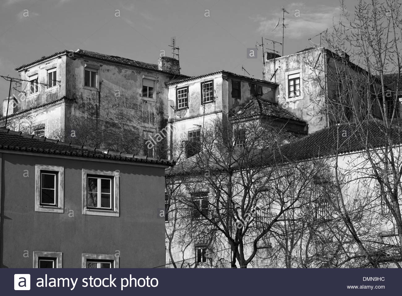 Black and white image of old building fronts with bare trees, Alfama, Lisbon, Portugal - Stock Image