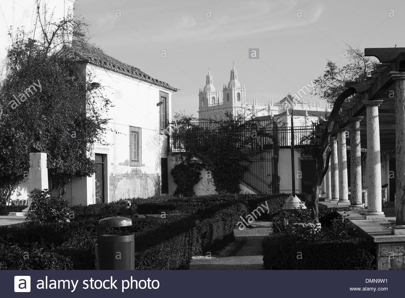 Black and white image of São Vicente de Fora church, Lisbon, Portugal - Stock Image