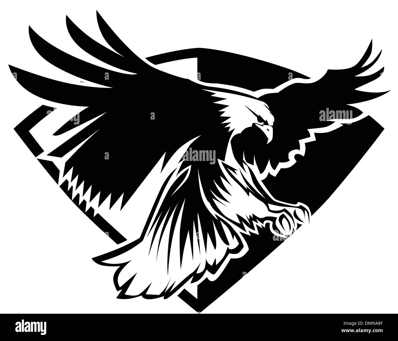 Eagle Mascot Flying Wings Badge Design - Stock Image