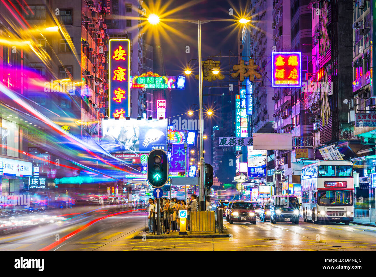 Nathan Road in Hong Kong - Stock Image