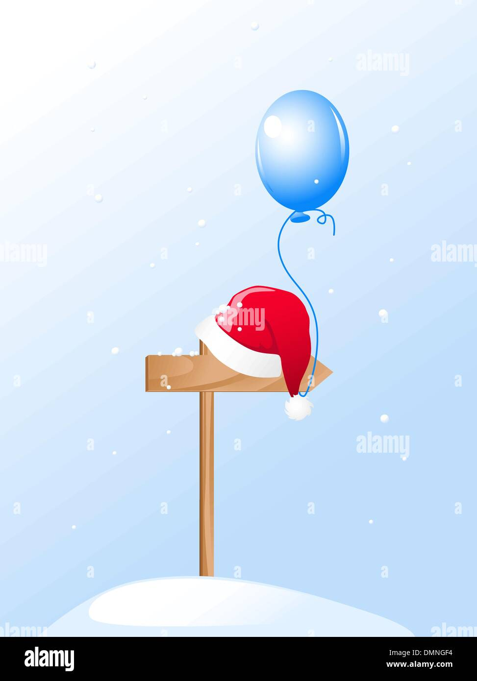 Santa's Hat and blue balloon - Stock Image
