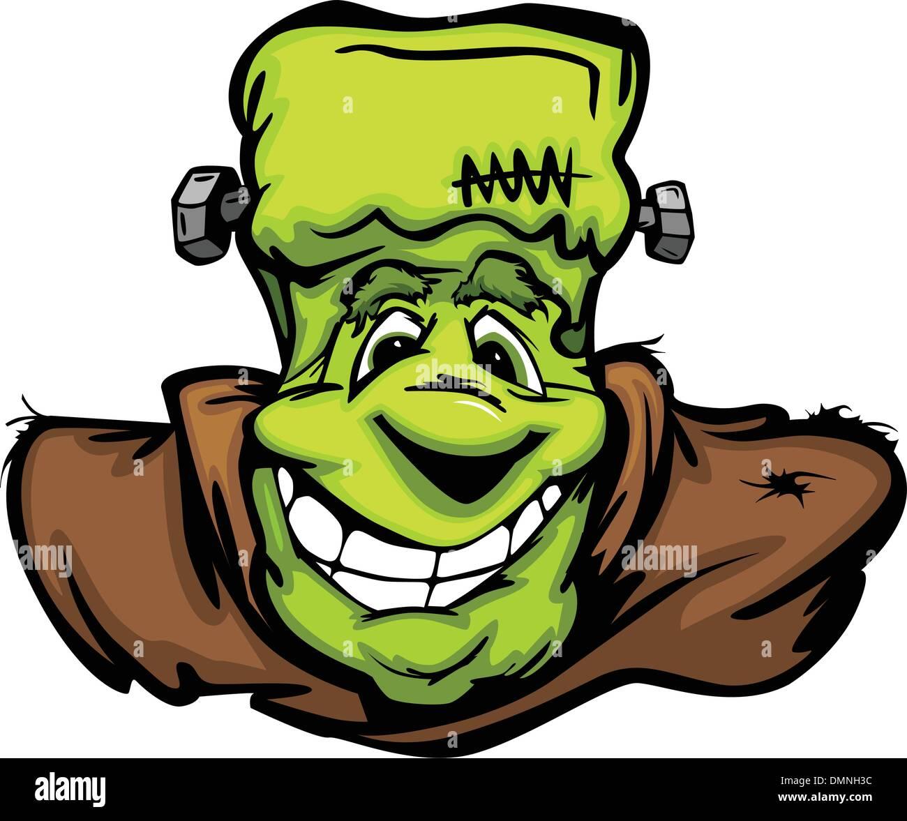 Happy Frankenstein Halloween Monster Head Cartoon Vector Illustr - Stock Image