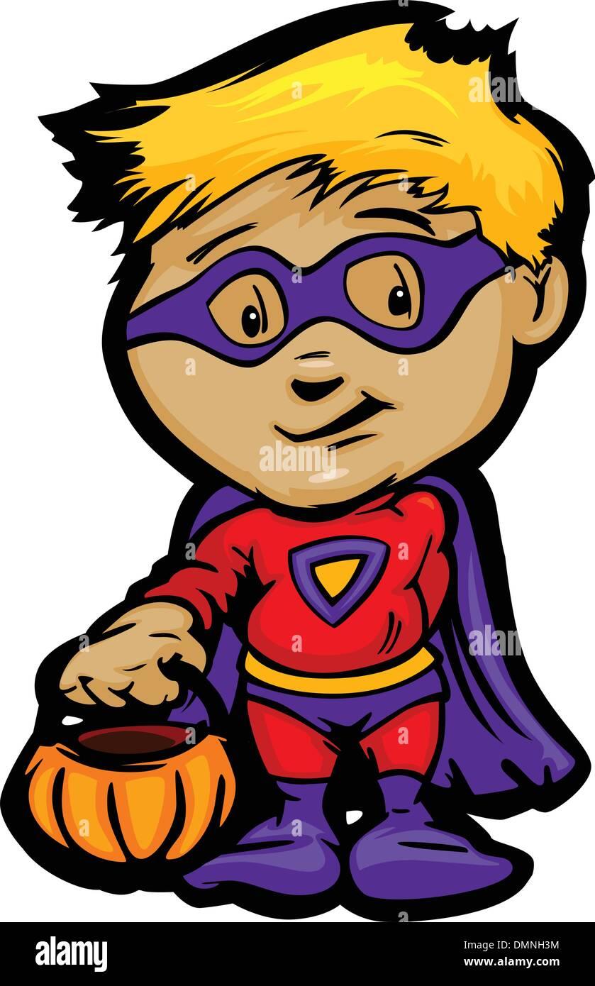 Cute Halloween Boy In Super Hero Costume Cartoon Vector Illustra - Stock Vector