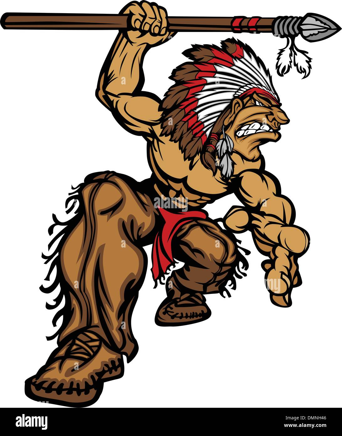 Indian Chief Mascot with Spear and Headdress Vector Illustration - Stock Image